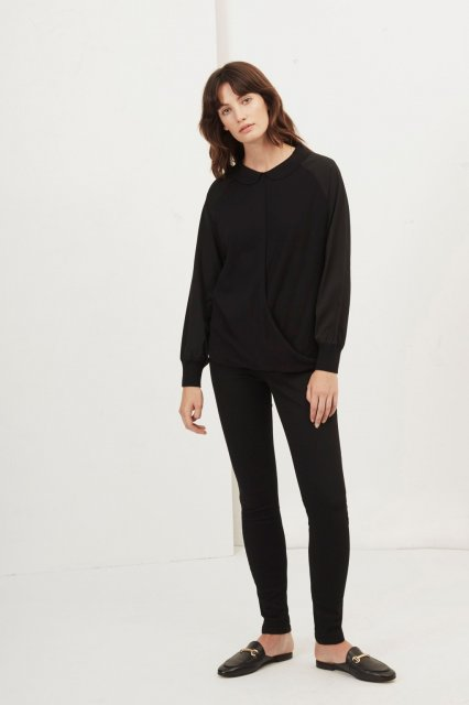 Great Plains Newlyn Knitted Drape Shirt Black