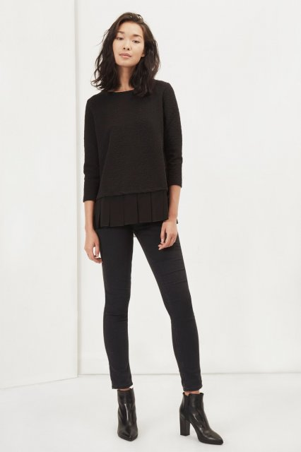 Great Plains Ripple Jersey Pleated Hem Tee Black
