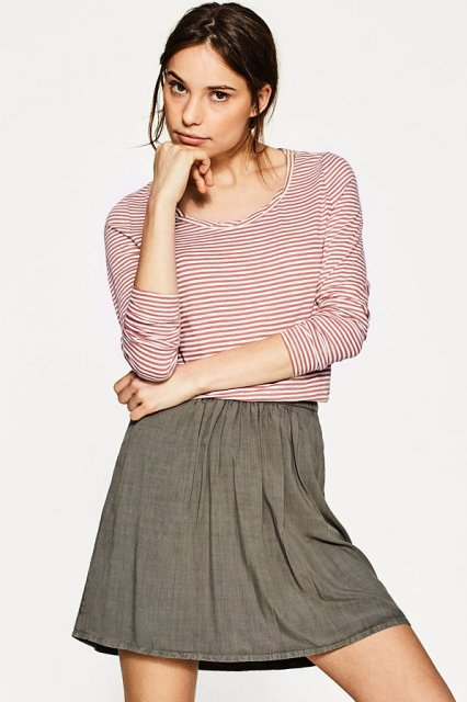 Esprit Small Stripe T-Shirt Dark Old Pink