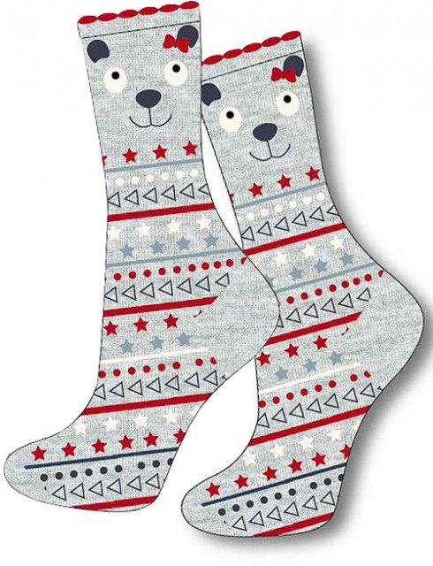 Charnos Bear Fairisle Sock Grey Mix