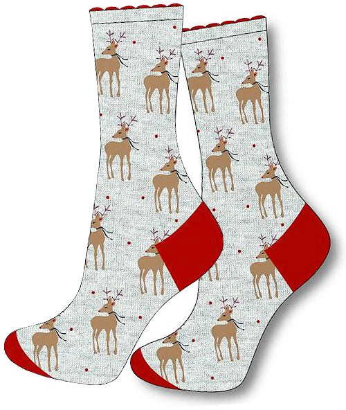 Charnos Reindeer Placement Sock Grey Mix
