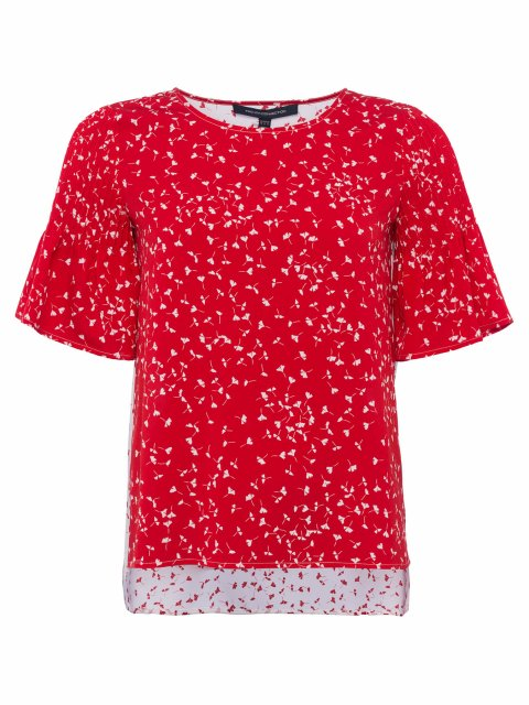 French Connection Komo Crepe Light SS Roundneck Top Red/White