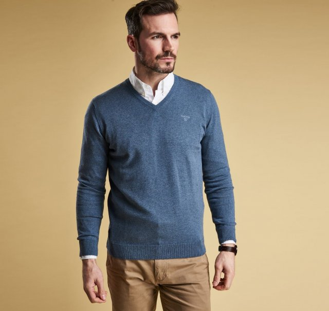 Barbour Pima Cotton V- Dk Chambray