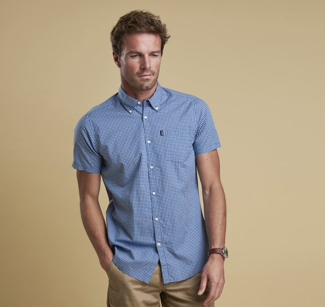 Barbour Hector S/s  Shirt Mid Blue