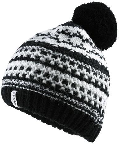 Superdry Nordic Pattern Bobble Hat Black Cream - Scarves ae974bbf492