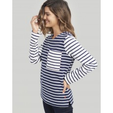 Joules Renee Button Detail Jersey Top Navy Cream Stripe