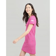 Joules Riviera Printed Dress With Short Sleeves Pink Cream Stripe