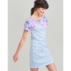 Joules Rivieraprint Printed Dress With Short Sleeves Blue Floral Stripe