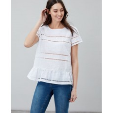 Joules Primrose Broderie Jersey Mix Peplum Top Bright White
