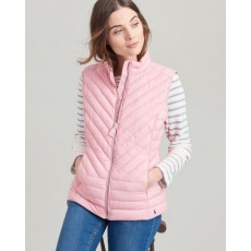Joules Brindley Chevron Quilted Gilet Pale Pink