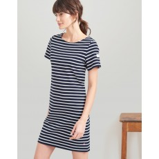 Joules Riviera Long Short Sleeve Jersey Dress Navy Cream Stripe