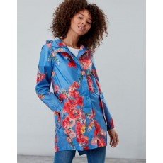 Joules Golightly Printed Waterproof Packaway Jacket Blue Floral