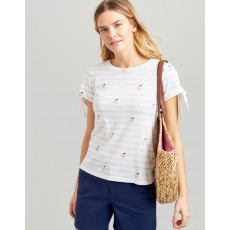 Joules Tiggy Tie Sleeve Jersey Top White Cherry Stripe