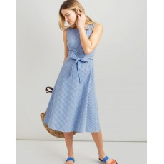 Joules Fiona Sleeveless Woven Dress With Tie Detail Blue Gingham