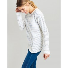 Joules Selena Cream Blue Stripe Sweatshirt