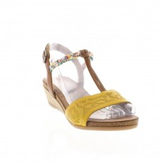 Remonte Cristallino Bogota Yellow and Nude Small Wedged Heel Sandal