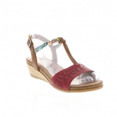Remonte Cristallino Bogota Red and Nude Small Wedged Heel Sandal