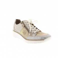 Rieker Sapce Delphi White and Nude Wedged Heel Trainer