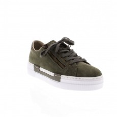 Rieker Samti Bukina Grey and Green Wedged Trainers