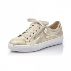 Rieker Delphi Mirror Nude and Gold Trainer
