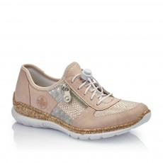 Rieker Eagle Mussurana Light Pink and Silver Trainer