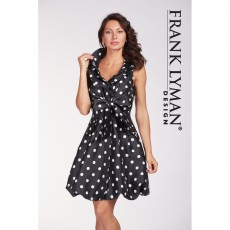 Frank Lyman Black Polka Dot Dress