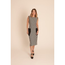 Latte mono stripe dress with contrast pockets