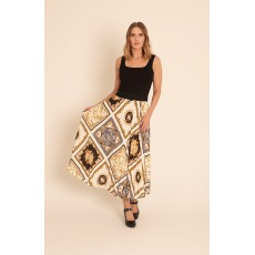 Latte fleur-de-lis print concertina pleat skirt