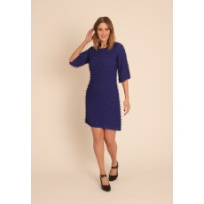 Latte 3/4 sleeve laser cut dress blue