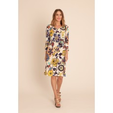 Latte v front flower print dress with tie bell sleeve detail