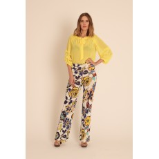 Latte stretch flower print palazzo trouser