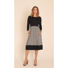 Latte 3/4 sleeve stripe dress blue