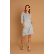 Latte linen & jersey dress Sky Blue