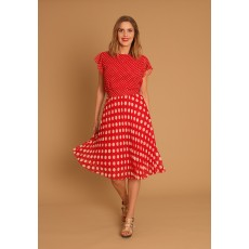 Latte Polka dot dress with frill sleeve