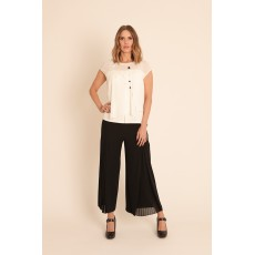Latte Concertina pleat palazzo trouser