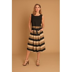Latte Sleevless stripe dress with tie belt