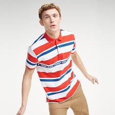 Tommy Jeans Multi Stripe Polo Flame Scarlet/Multi