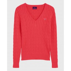 Gant Cable Red V-Neck