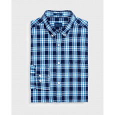 Gant Windblown Oxford Plaid Blue Regular Long Sleeve Shirt