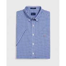 Gant Broadcloth Gingham Blue Regular Short Sleeve Shirt