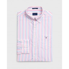 Gant Broadcloth Pink 3 Colour Stripe Regular Long Sleeve Shirt
