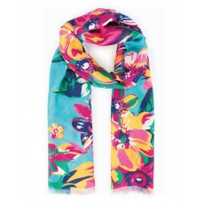 Scarf Summer Floral Print Turquoise