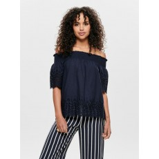 Only Sherry Embroidered Anglaise Off Shoulder Denim Top