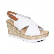 Lunar Barcelona White Leather Summer Wedge