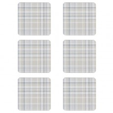 Denby Elements Checks Natural 6Pc Coasters