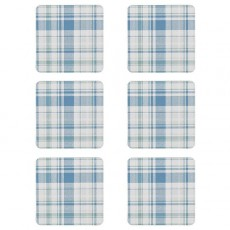 Denby Elements Checks Green/Blue 6Pc Coasters