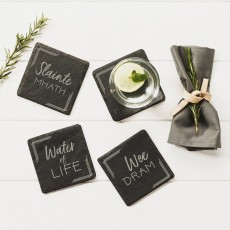 Just Slate Whisky Coasters Square Engraved Set 4