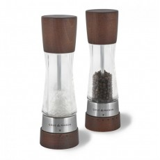Cole & Mason Derwent GS Clear Stainless Steel Forest Wood Salt & Pepper Mill Set