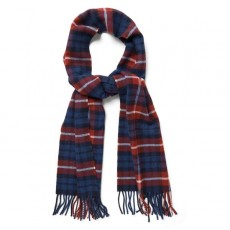 Gant Checked Lambswool Scarf Wine