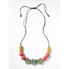 White Stuff Flower Ceramic & Cord Necklace Kahlo
